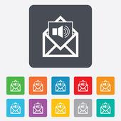 Voice mail icon. Speaker symbol. Audio message. — Stock vektor