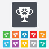 Winner pets cup sign icon. Trophy for pets. — Stock Vector