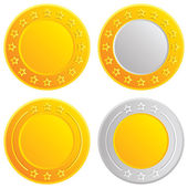 Gold and silver coins. Cash with stars template — Stock Vector