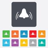 Icône de signe de cloche d'alarme. symbole de l'alarme se réveillent. — Vecteur