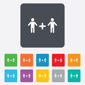 Couple sign icon. Male plus male. Gays. — Stock Vector