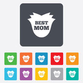 Best mom sign icon. Flower symbol. — Vector de stock