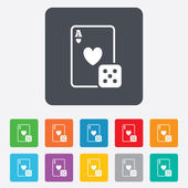 Casino sign icon. Playing card with dice symbol — Vector de stock
