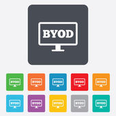 BYOD sign icon. Bring your own device symbol. — Stock Vector