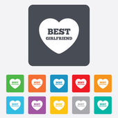 Best girlfriend sign icon. Heart love symbol. — Stock Vector