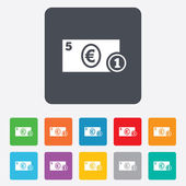 Cash sign icon. Euro Money symbol. Coin. — Vector de stock