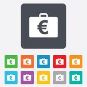 Case with Euro EUR sign. Briefcase button. — Stock Vector