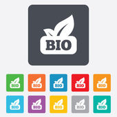 Bio product sign icon. Leaf symbol. — Vector de stock