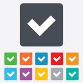 Check sign icon. Yes button. — Vector de stock