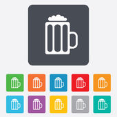Glass of beer sign icon. Alcohol drink symbol. — Wektor stockowy