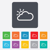 Cloud and sun sign icon. Weather symbol. — Stock Vector