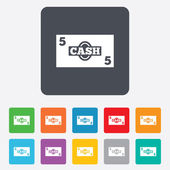 Cash sign icon. Money symbol. Coin. — Vector de stock