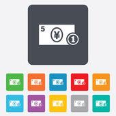 Cash sign icon. Yen Money symbol. Coin. — Stock Vector