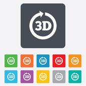 3d tecken ikonen. 3d ny teknik symbol. — Stockvektor