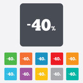 40 percent discount sign icon. Sale symbol. — ストックベクタ