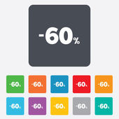 60 percent discount sign icon. Sale symbol. — Vector de stock