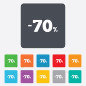 70 percent discount sign icon. Sale symbol. — Vector de stock