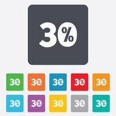 30 % 割引の記号アイコン。販売記号. — ストックベクタ