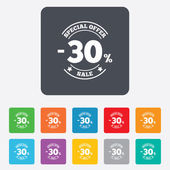 30 percent discount sign icon. Sale symbol. — ストックベクタ