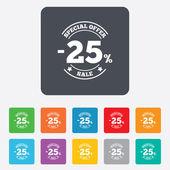 Icône de signe 25 % de réduction. symbole de la vente. — Vecteur