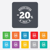 20 percent discount sign icon. Sale symbol. — ストックベクタ