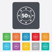 50 percent discount sign icon. Sale symbol. — ストックベクタ