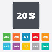20 Dollars sign icon. USD currency symbol. — Stock Vector