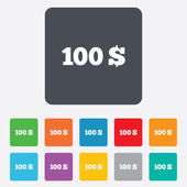100 Dollars sign icon. USD currency symbol. — Stock Vector