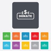 Donate sign icon. Multicurrency symbol. — Stock Vector