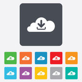 Download from cloud icon. Upload button. — Stock Vector