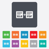 Export XLS to PDF icon. File document symbol. — Vector de stock