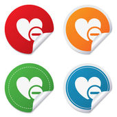 Heart sign icon. Remove lover symbol. — Vettoriale Stock