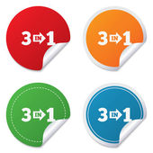 Three in one sign icon. 3 in 1 symbol with arrow — Stock Vector