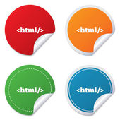 HTML sign icon. Markup language symbol. — Stock Vector