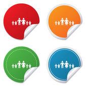Komplette große Familie mit vielen Kindern-Schild. — Stockvektor
