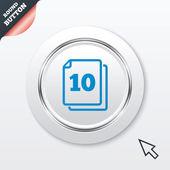 W opakowaniu 10 arkuszy podpisać ikona. 10 dokumenty symbol. — Wektor stockowy