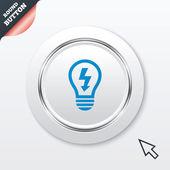 Icona del segno di lampada. lampadina con il simbolo del fulmine — Vecteur