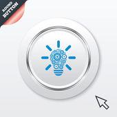 Ícone de sinal da luz da lâmpada. bulbo com símbolo de engrenagens. — Vetor de Stock