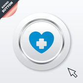 Medical heart sign icon. Cross symbol. — Stock Vector