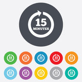 Every 15 minutes sign icon. Full rotation arrow. — Vector de stock