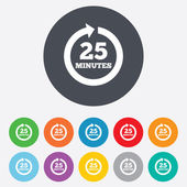 Every 25 minutes sign icon. Full rotation arrow. — Vector de stock