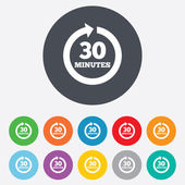 Every 30 minutes sign icon. Full rotation arrow. — Vector de stock