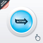 Action sign icon. Motivation button with arrow. — Stock Vector