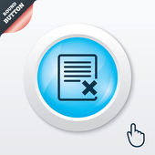 Delete file sign icon. Remove document symbol. — Vettoriale Stock