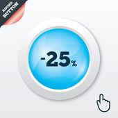 25 percent discount sign icon. Sale symbol. — Stok Vektör