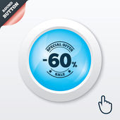 60 percent discount sign icon. Sale symbol. — Stock Vector