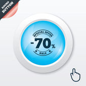 70 percent discount sign icon. Sale symbol. — Stock Vector