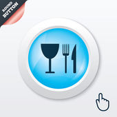 Eat sign icon. Knife, fork and wineglass. — Stock Vector