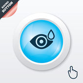 Eye with water drop sign. Drip into the eyes. — Stock Vector