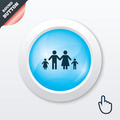 Complete family with two children sign icon. — Stockvector